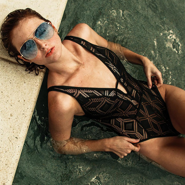 2020-11-19 Becca Black Lace One Piece Swimsuit