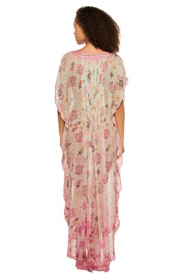 Floral Split V-Neck Sheer Caftan