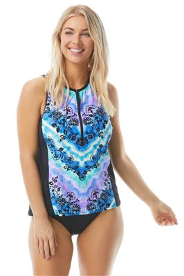 Racer Zip Front High Neck Tankini Top