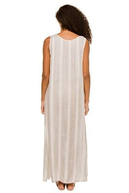 Metallic Stripe Sleeveless Maxi Dress