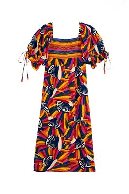 Rainbow Toucans Long Puff Sleeve Maxi Dress