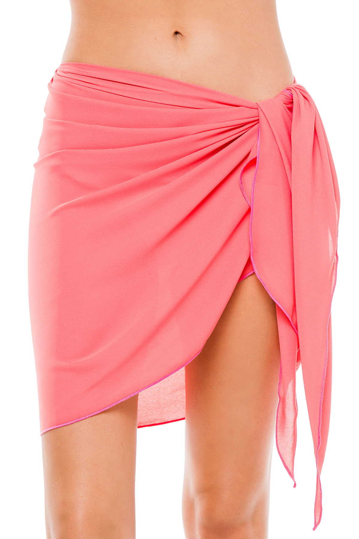 Sheer Short Cover Pareo - Coral 1