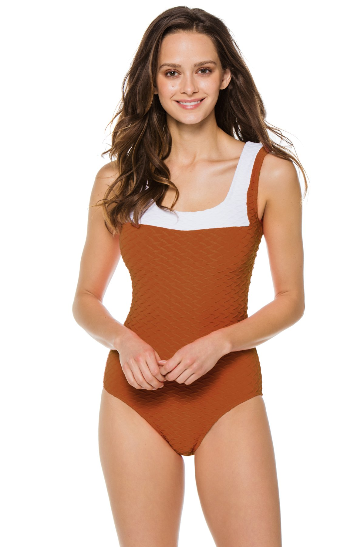 Textured Over The Shoulder One Piece Swimsuit - Amber 1