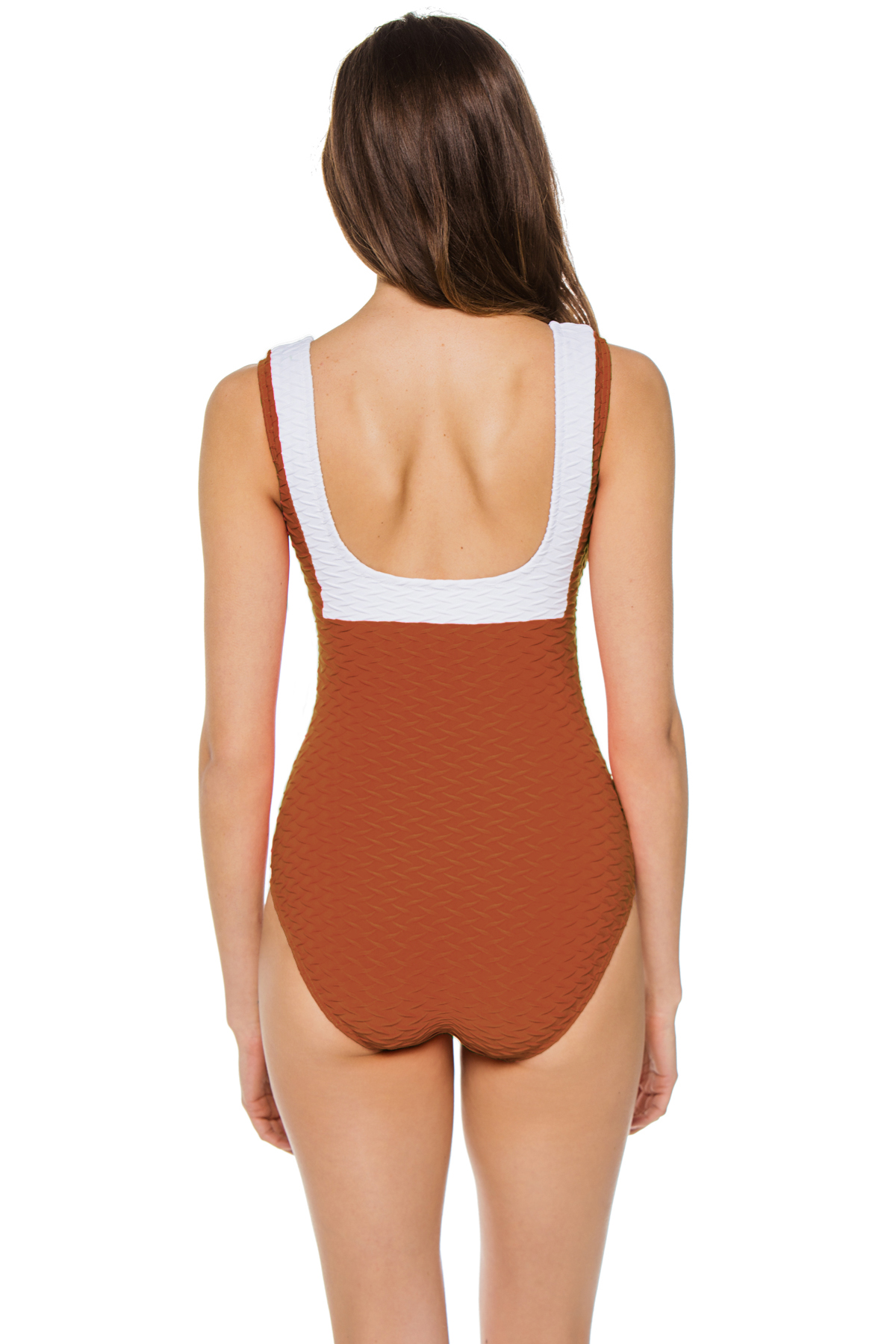 Textured Over The Shoulder One Piece Swimsuit - Amber 2