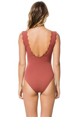 Scalloped Plunge Over The Shoulder One Piece Swimsuit