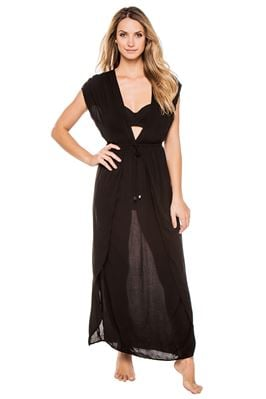 Deep V Adjustable Waist Caftan