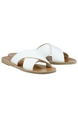 Thais Cross Strap Leather Slides