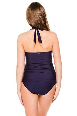 Shirred Navy Halter Tankini Top