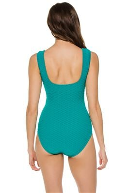Square Neck Over The Shoulder One Piece Swimsuit