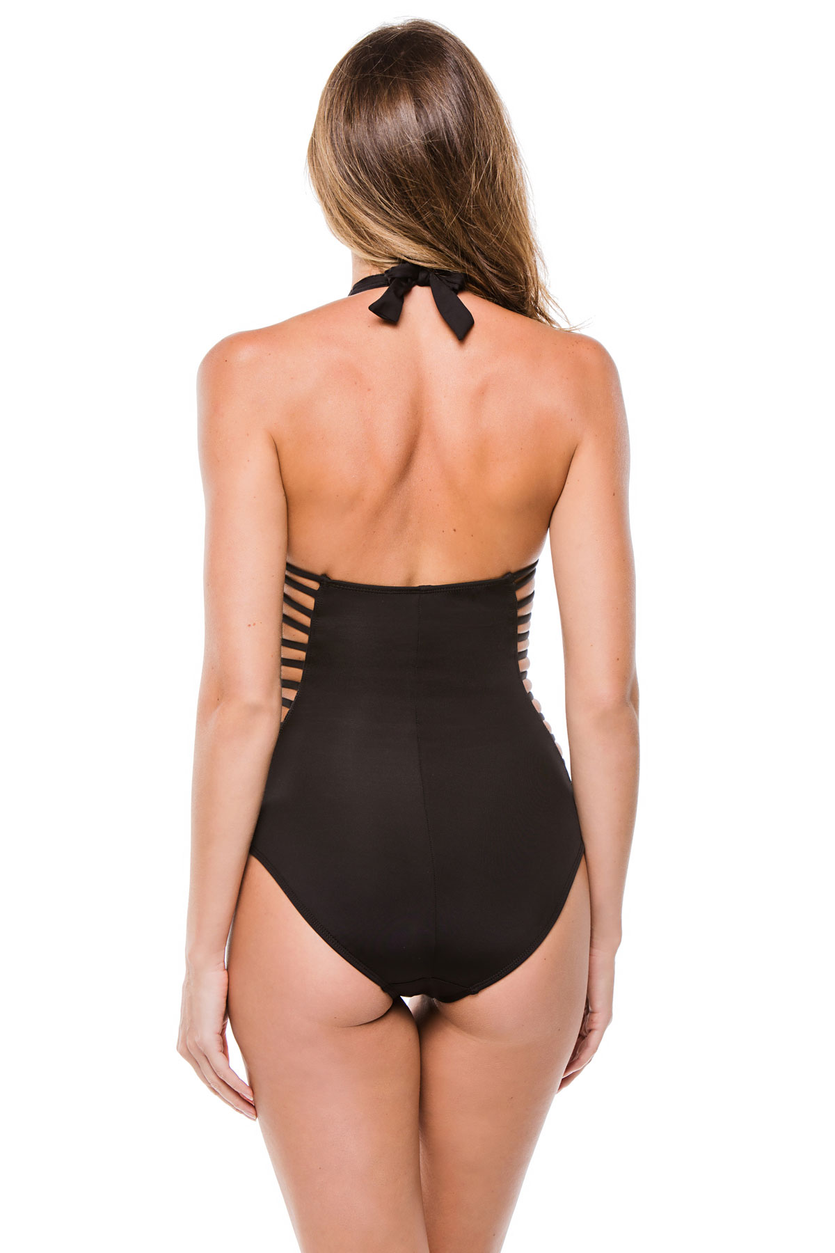Strappy Cutout Plunge Halter One Piece Swimsuit - Black 2