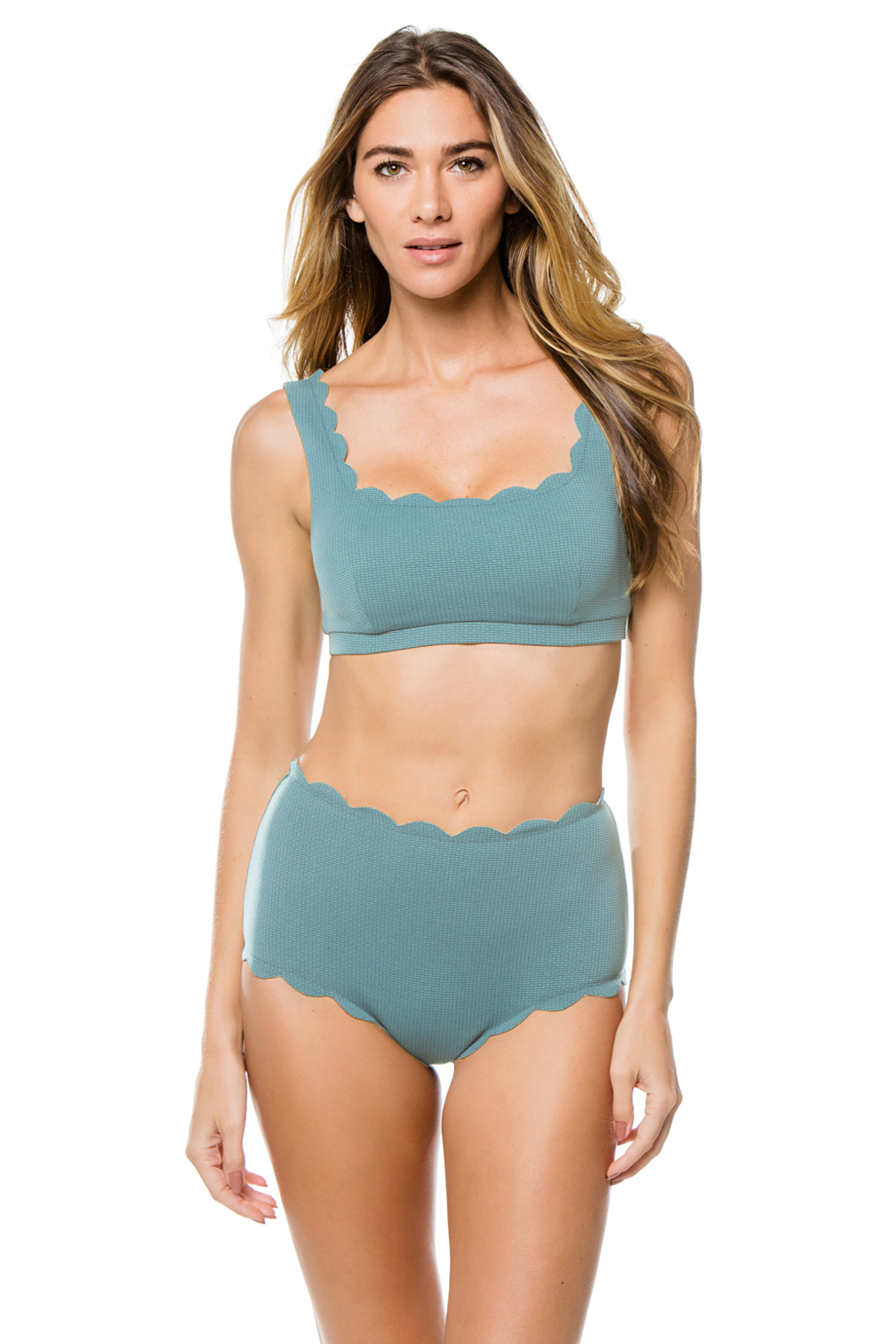 Palm Springs Scalloped Bralette Bikini Top - Smoke Blue 7