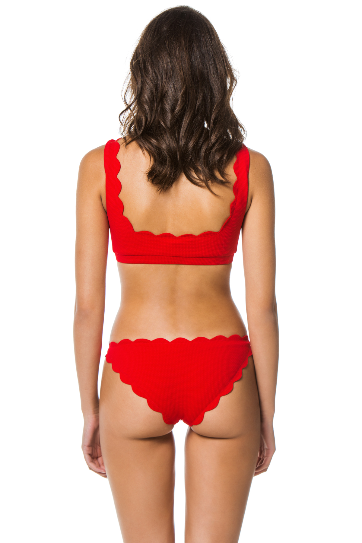 Palm Springs Scalloped Bralette Bikini Top - Red 6