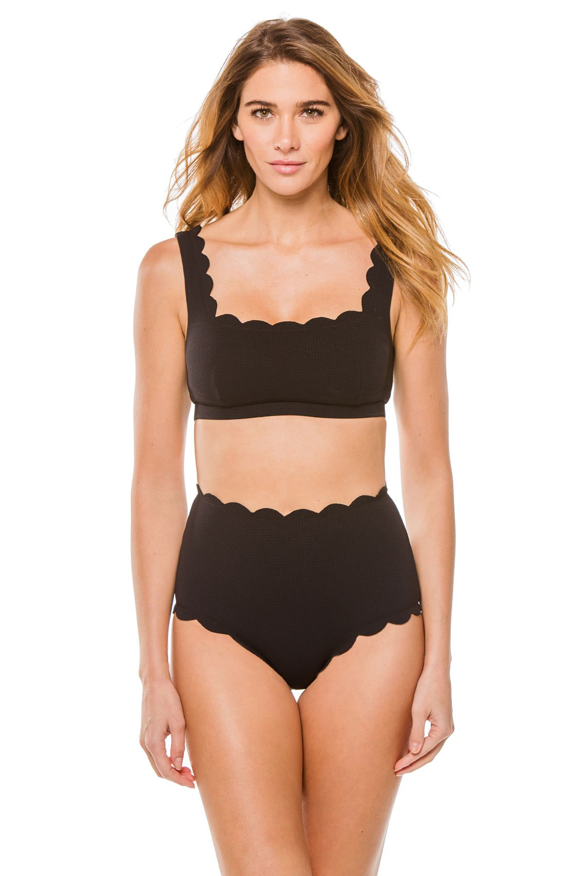 Palm Springs Scalloped Bralette Bikini Top - Black 11