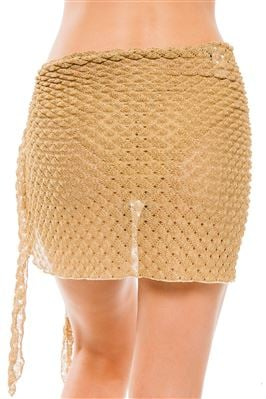 Metallic Crochet Short Cover Pareo