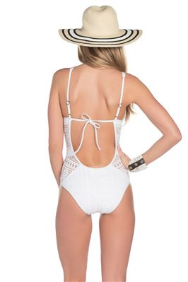 Crochet Plunge One Piece Swimsuit