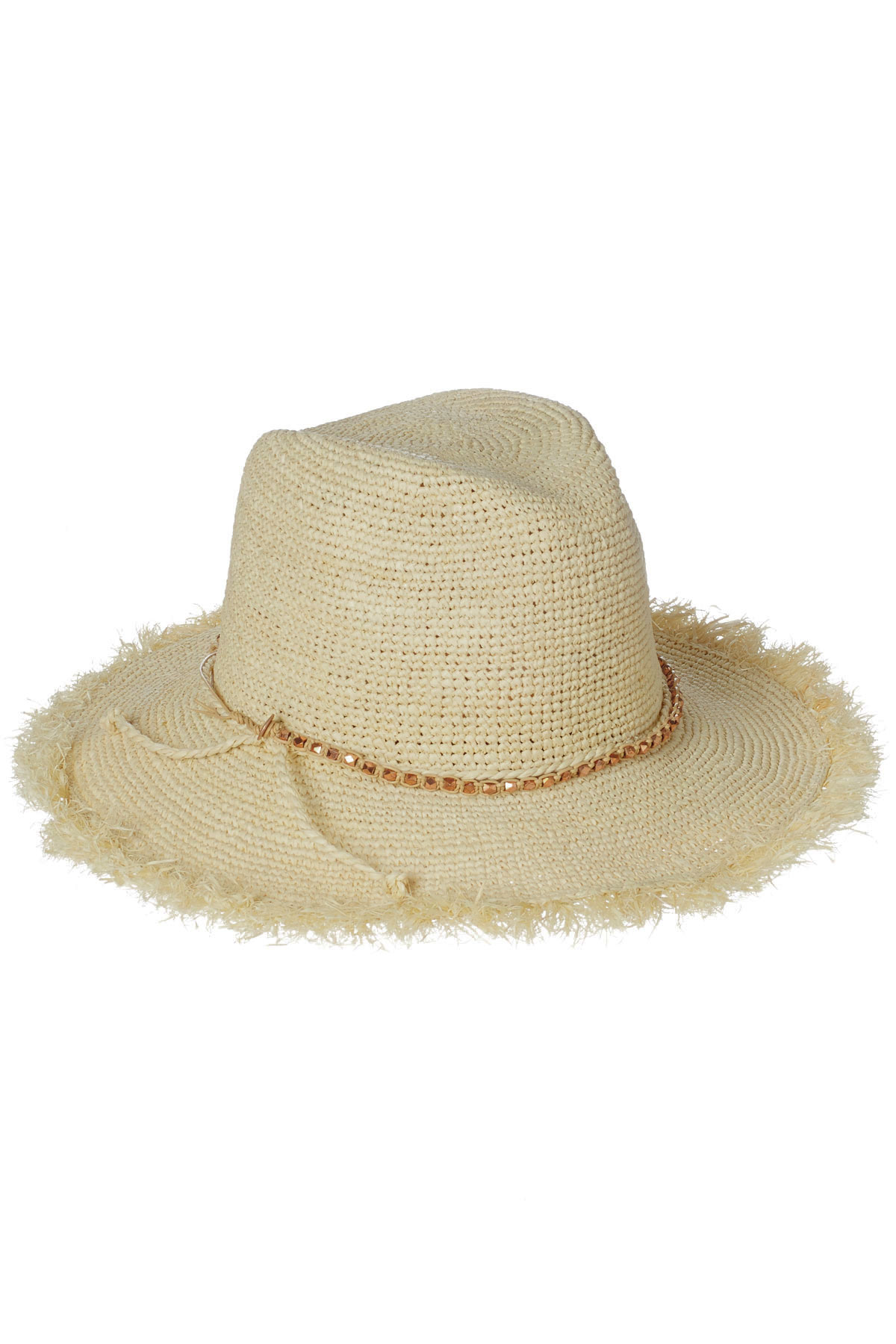 Callie Beaded Trim Fedora - Bleached Almond 3