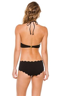 Mott Scalloped High Neck Halter Bikini Top