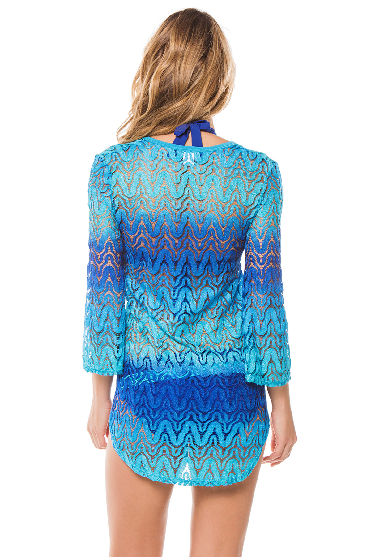Ombre Crochet V-Neck Tunic - Ultramarine 2