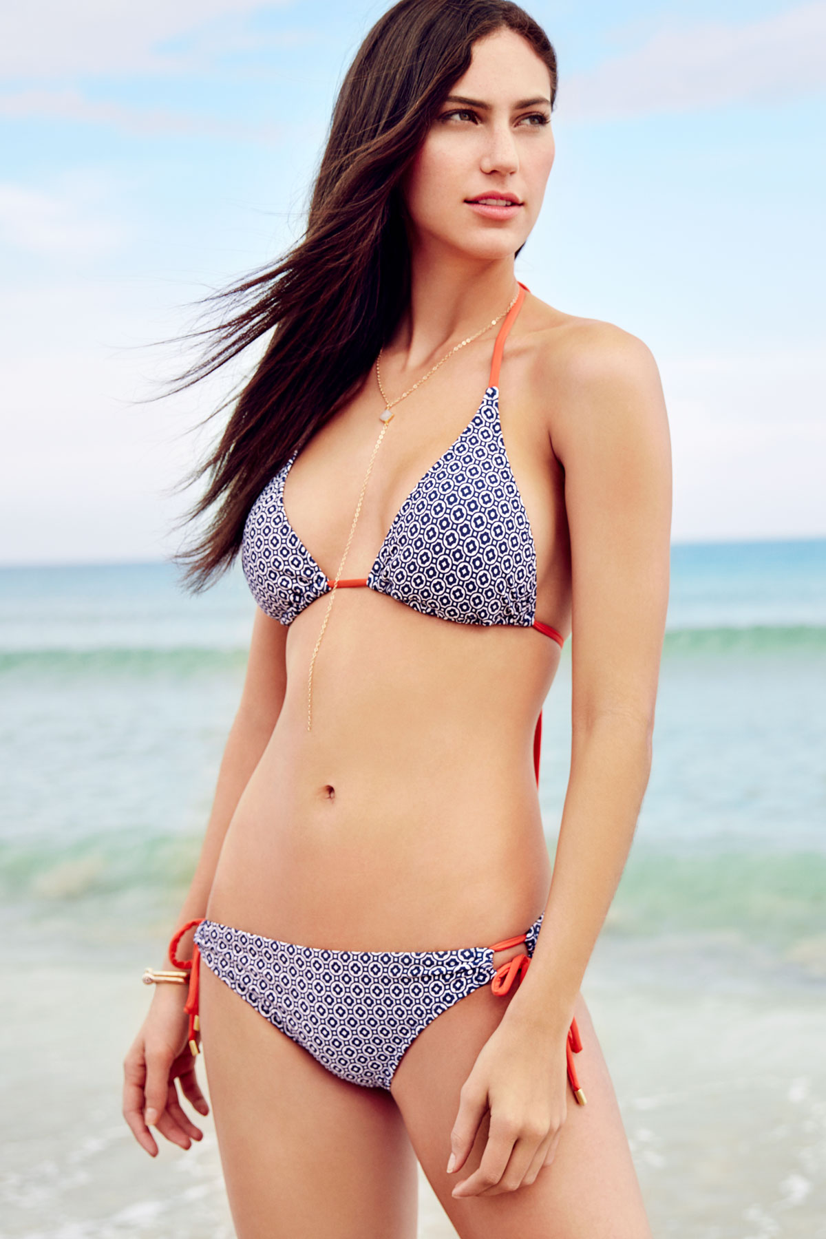 Loop Tie Side Hipster Bikini Bottom - Navy 3