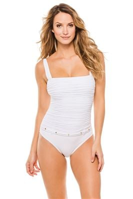 Belted Shirred Over The Shoulder One Piece Swimsuit
