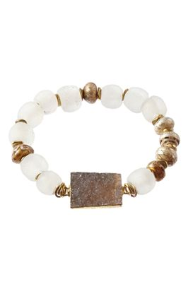 Mantra Pearl and Druzy Bracelet