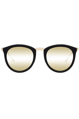 No Smirking Gold Mirror Lens Round Sunglasses