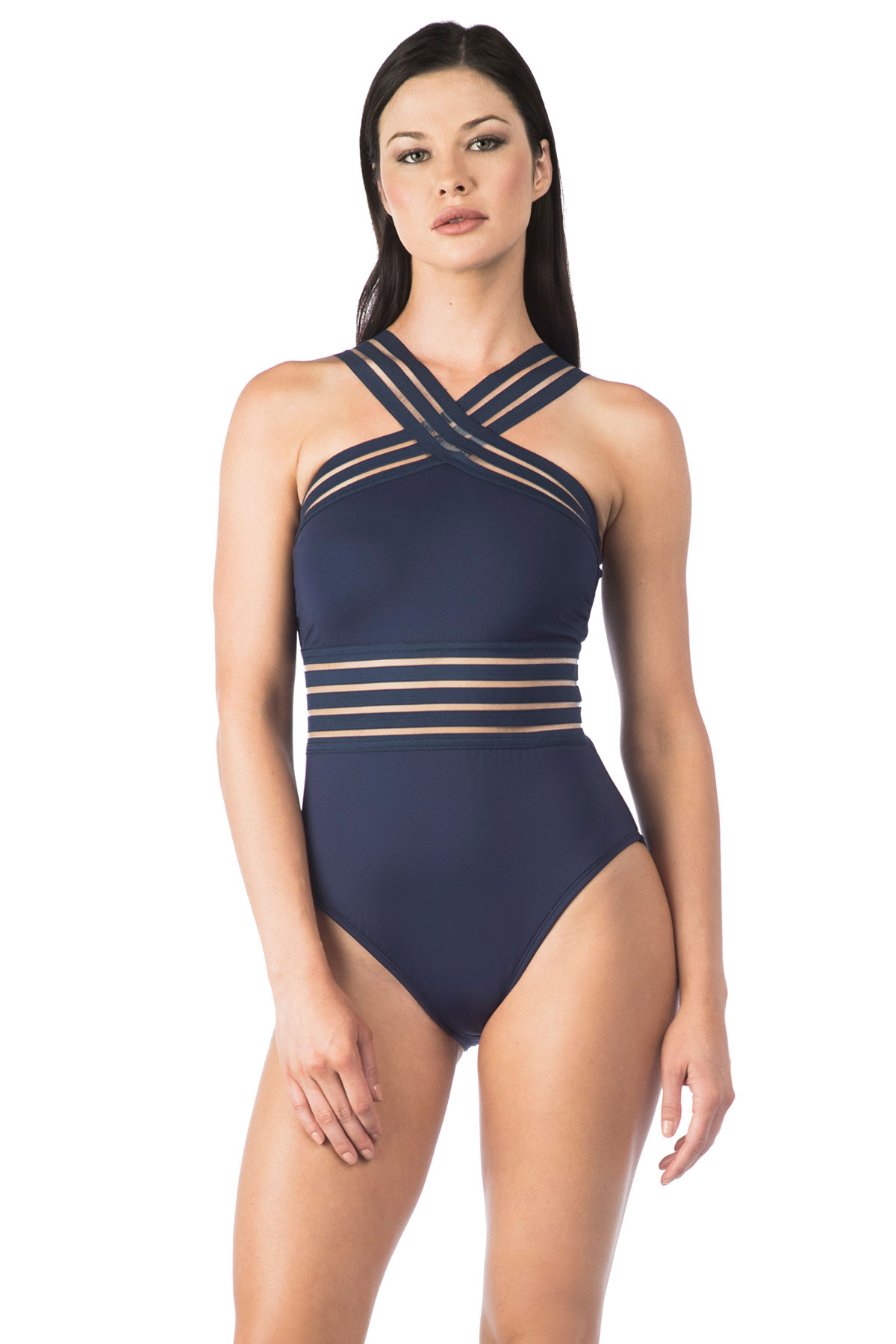 Strappy High Neck One Piece Swimsuit - Midnight 5