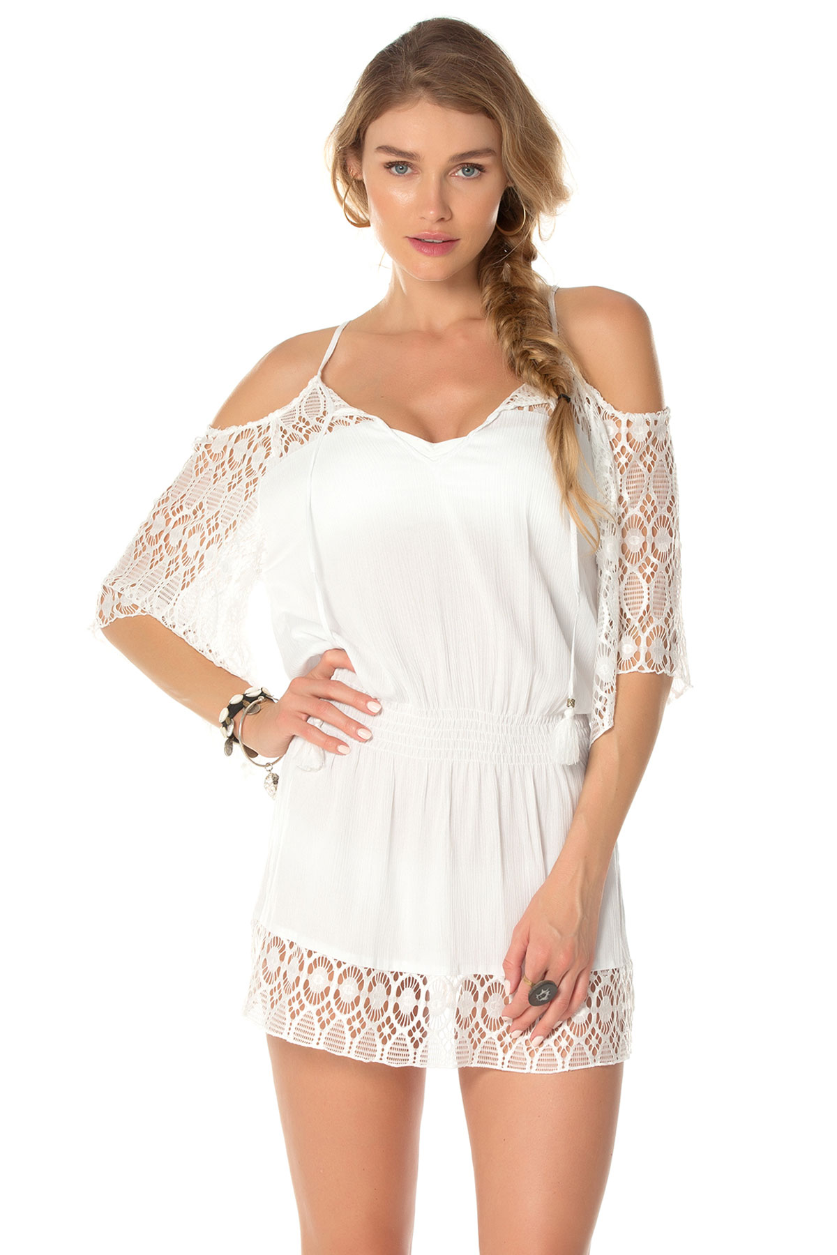 Cold Shoulder Smocked And Drawcord Waist Tunic - White 4