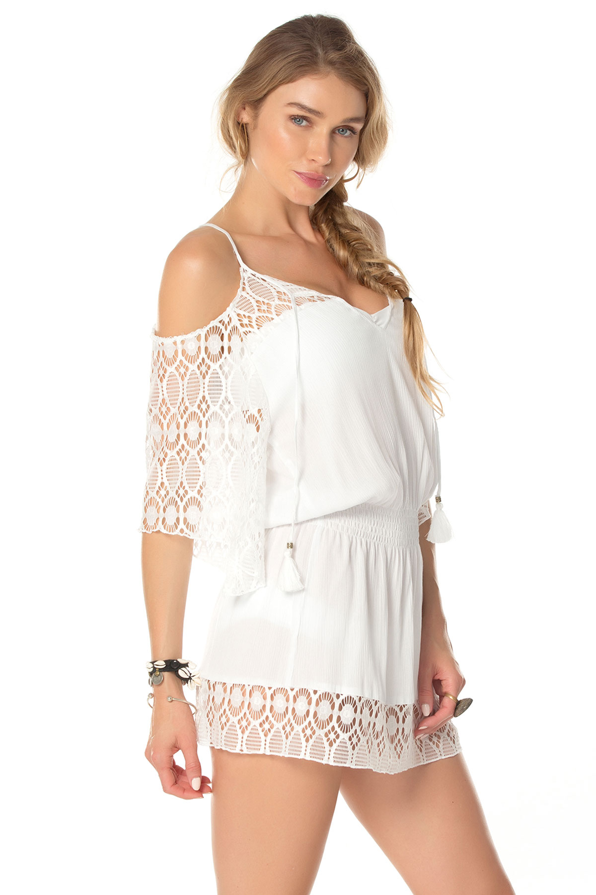 Cold Shoulder Smocked And Drawcord Waist Tunic - White 6