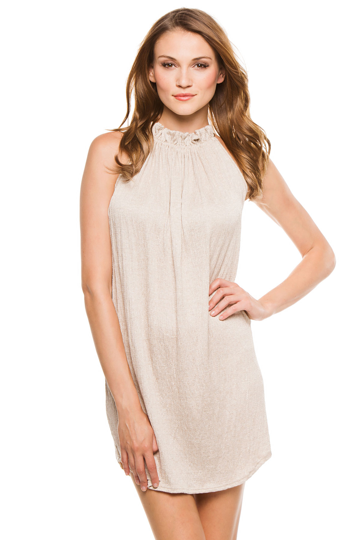 Gathered High Neck Short Dress - Taupe 1