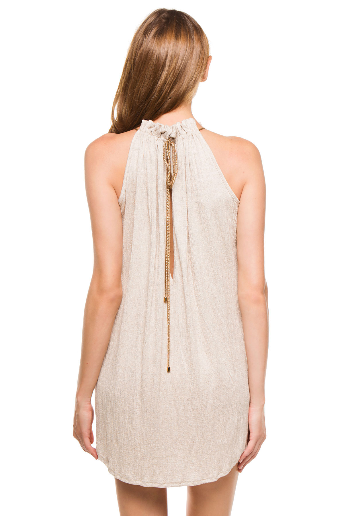 Gathered High Neck Short Dress - Taupe 2
