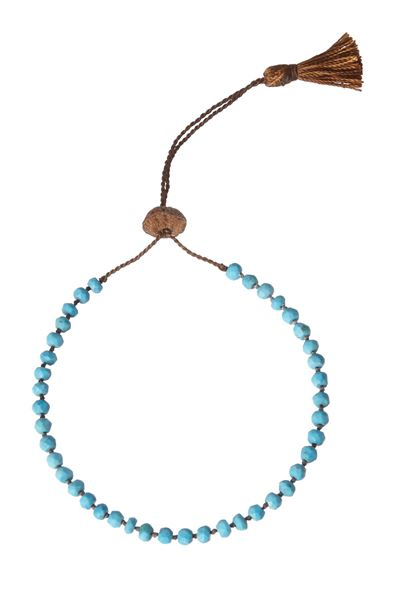 Knotted Turquoise Tassel Bracelet - Turquoise - One