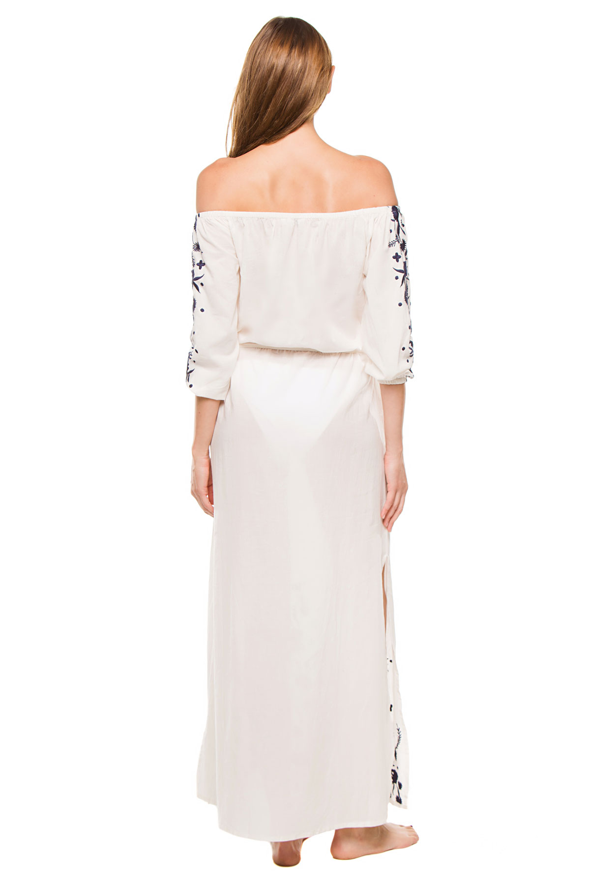 Grimaud Off The Shoulder Maxi Dress - White/Navy 2