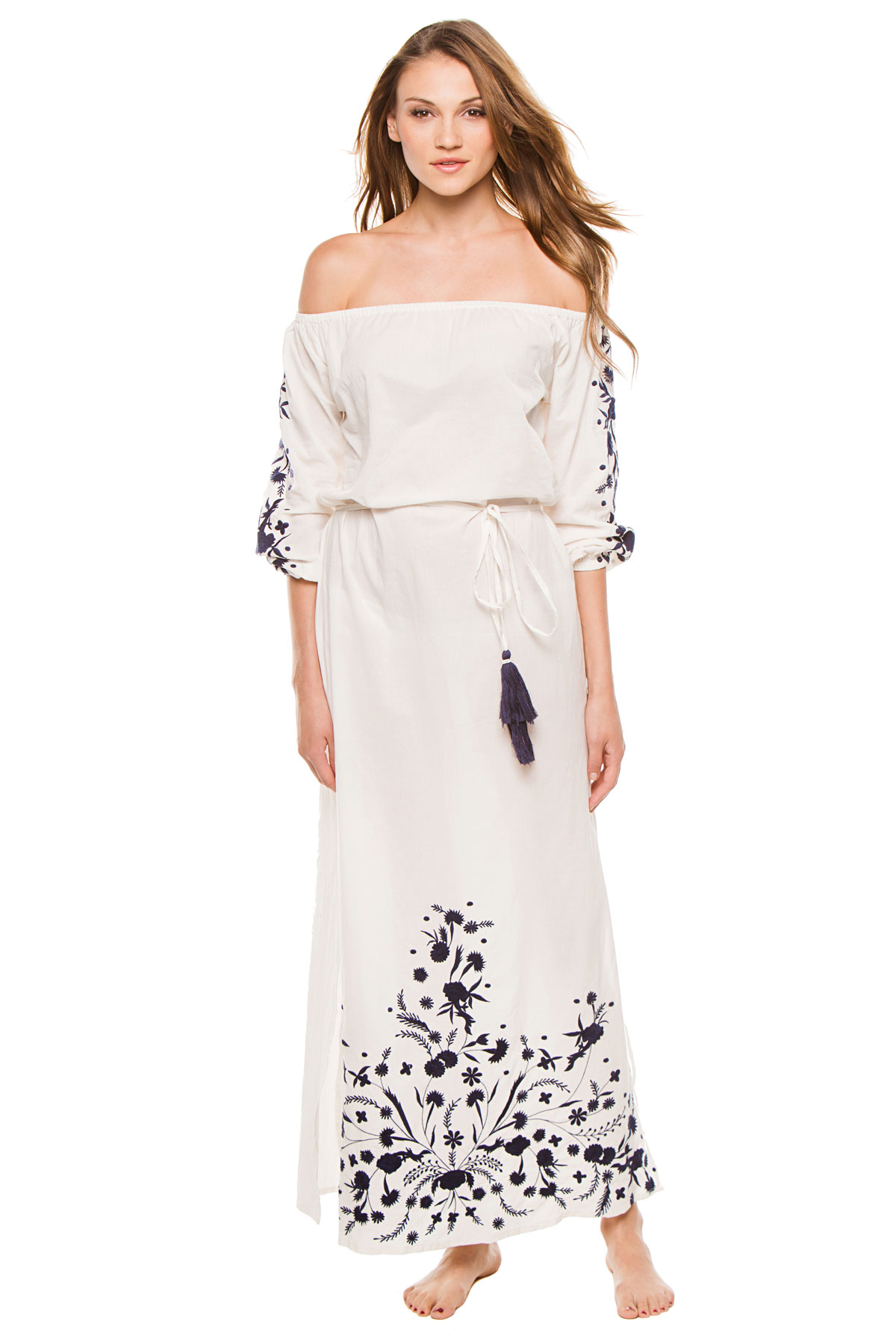 Grimaud Off The Shoulder Maxi Dress - White/Navy 1