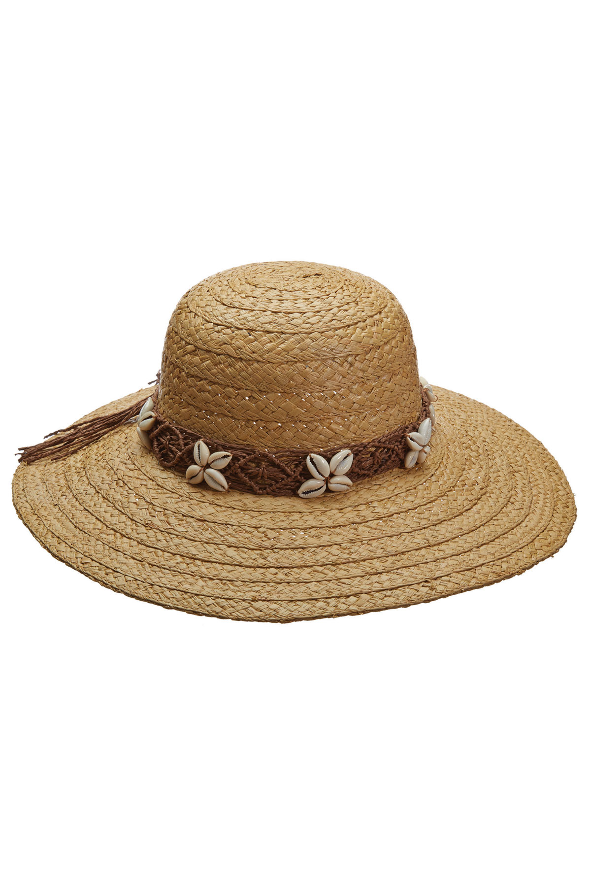 Woven Cowrie Shell Trim Hat - Natural 1