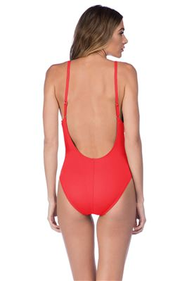 Plunge Over The Shoulder Shirred One Piece Swimsuit