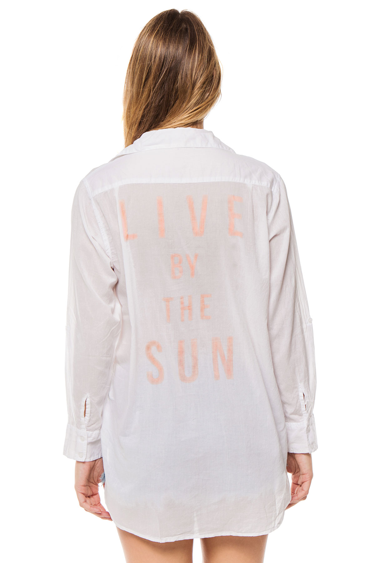 Live By The Sun Blouse - White/Light Coral 2