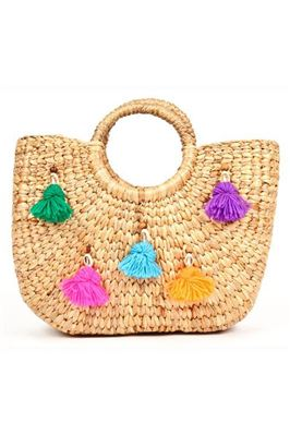 Handwoven Colorful Pom Pom Tote