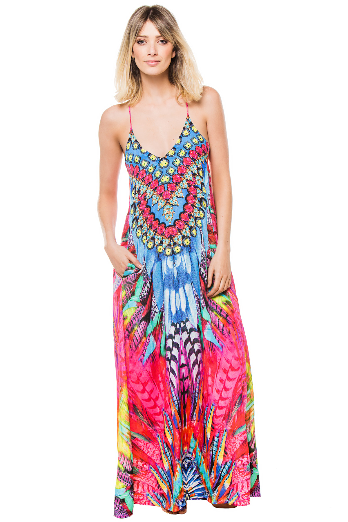 Feather Print Maxi Dress - Apache Feather
