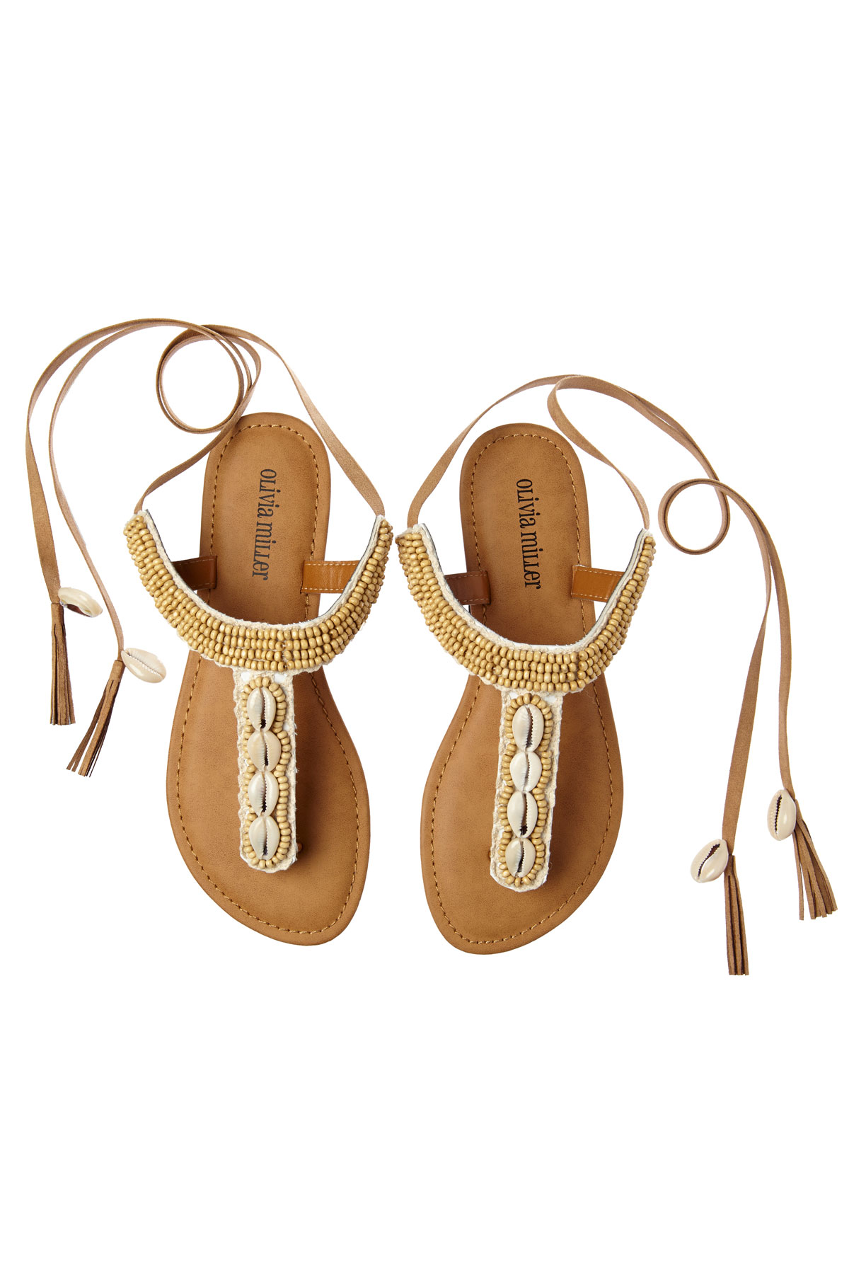 Cowrie Shell Wrap Sandals - Natural 1