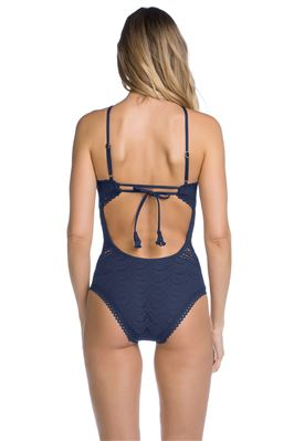 Lace Rickrack High Neck One Piece Swimsuit