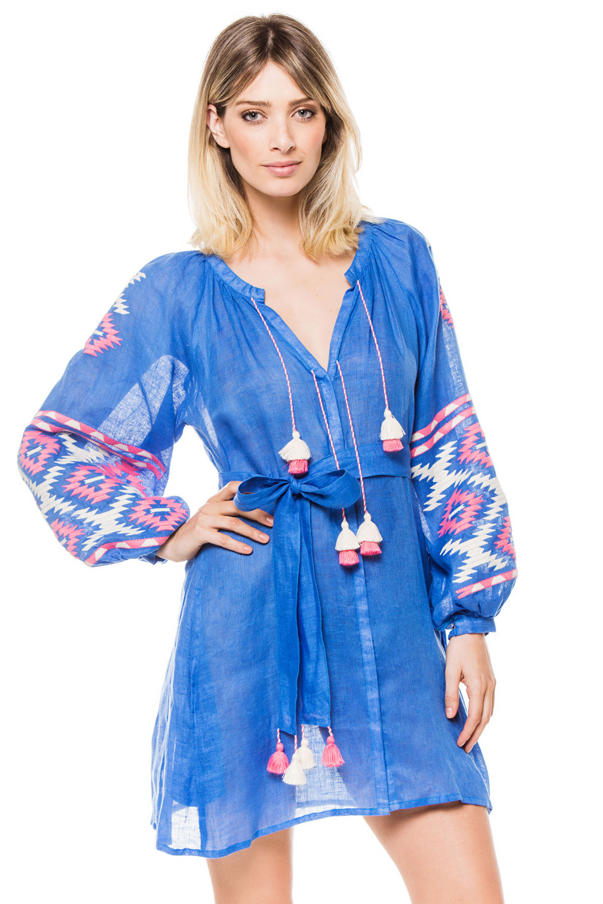 Istanbul Embroidered Mini Dress - Blue 1