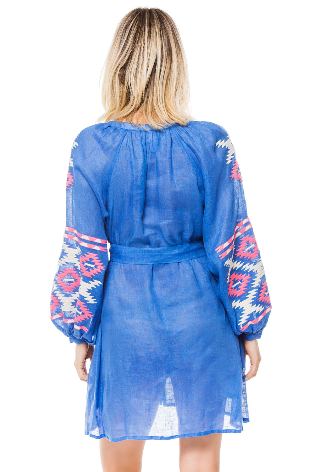 Istanbul Embroidered Mini Dress - Blue 2
