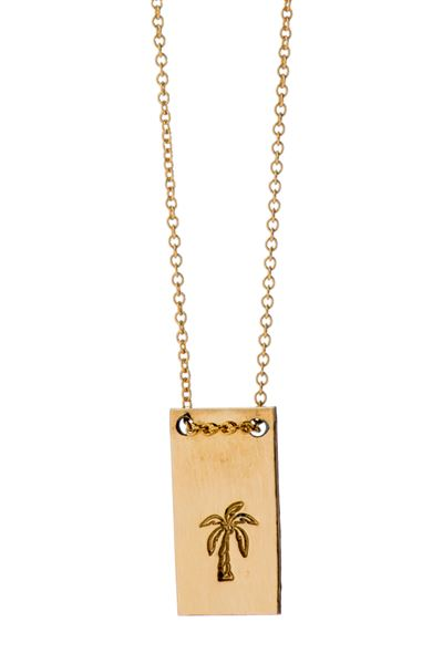 Palm Tree Micro Mer Tag Necklace - Gold - One