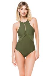 Keyhole High Neck One Piece Swimsuit