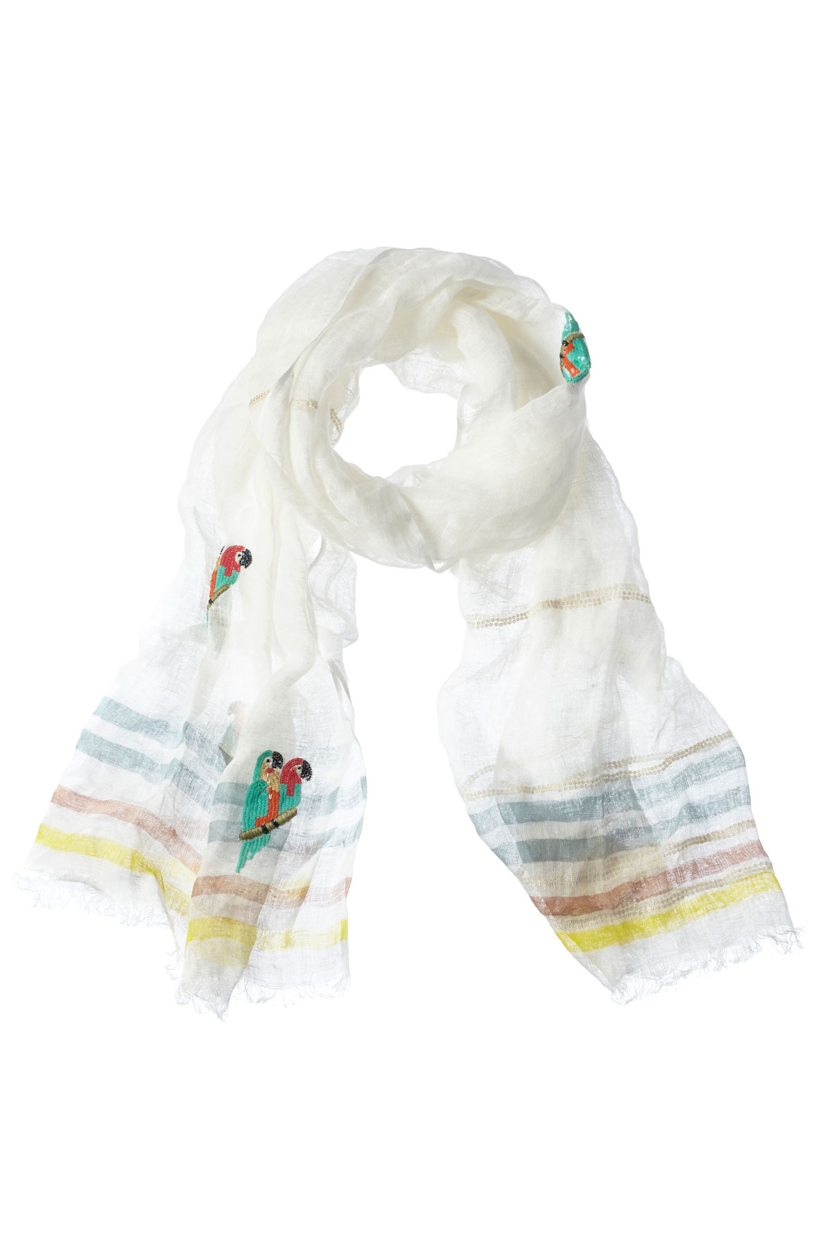 Beaded Parrot Scarf - White Lime Green