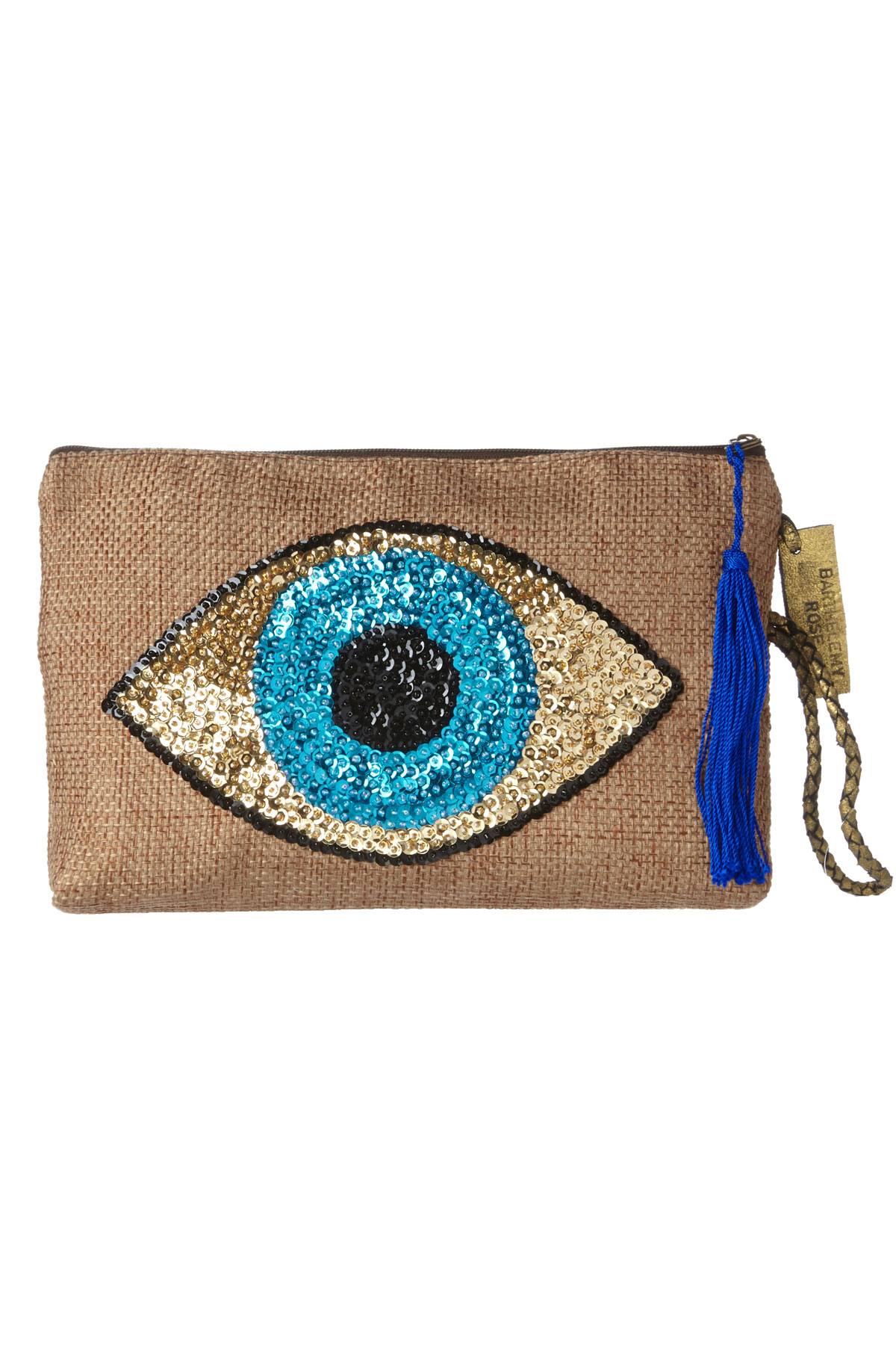 Handmade Canvas Sequin Evil Eye Clutch - Natural 3