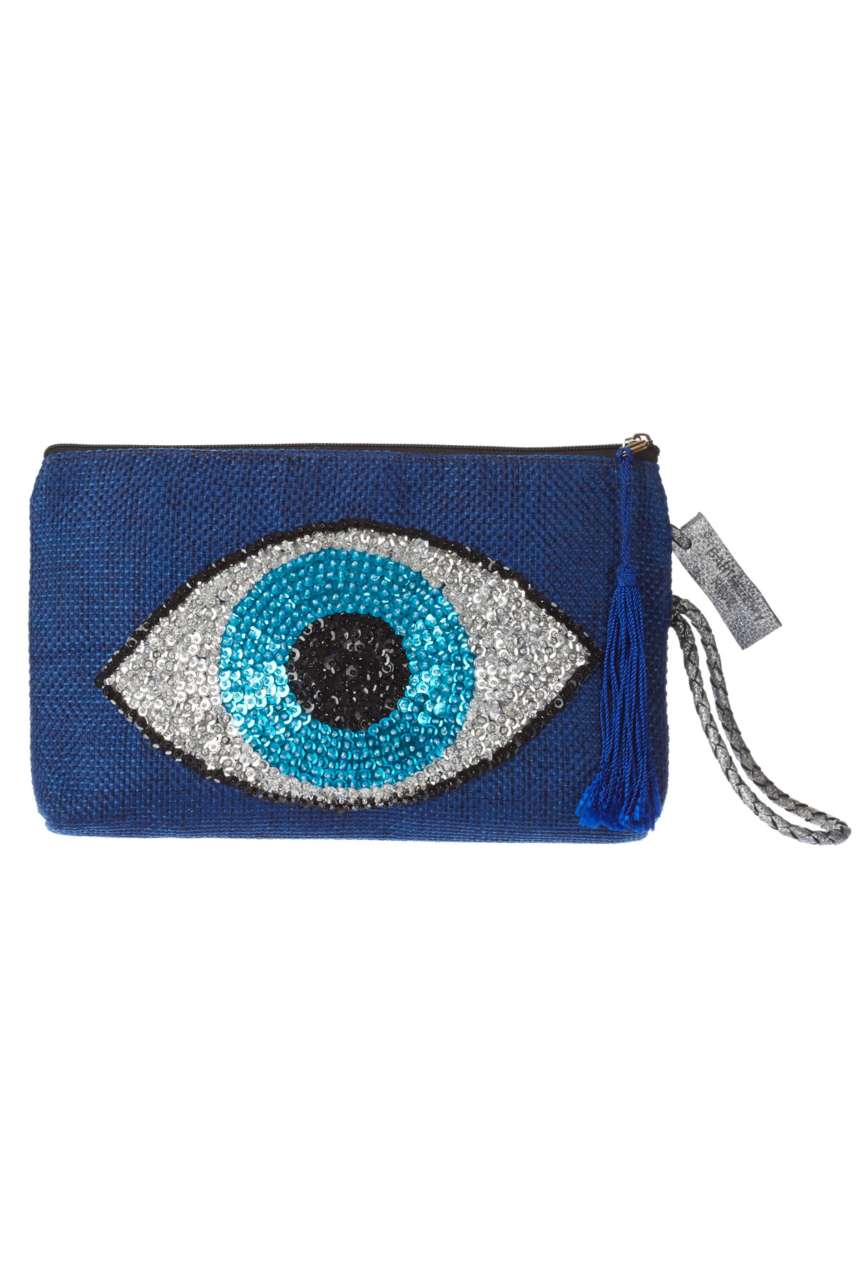 Handmade Canvas Sequin Evil Eye Clutch - Navy 1