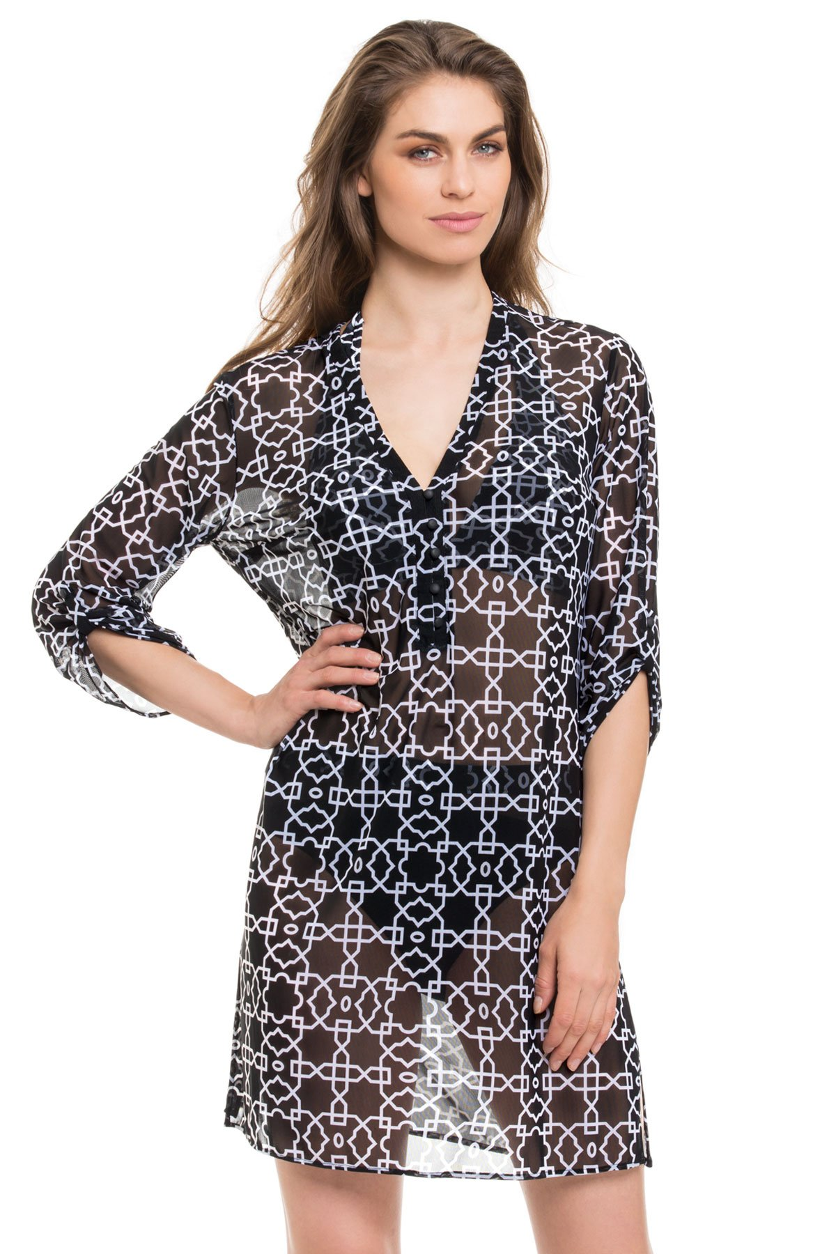 Button Front Mesh Tunic - Multi