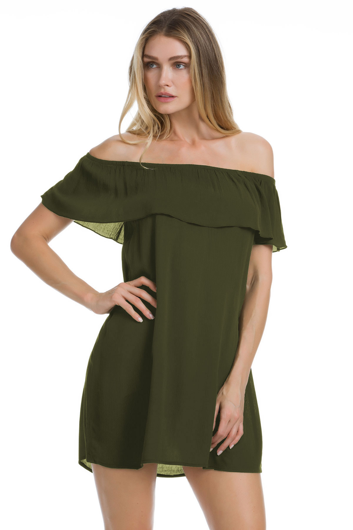 Off The Shoulder Flounce Ruffle Tunic - Bay Leaf 1